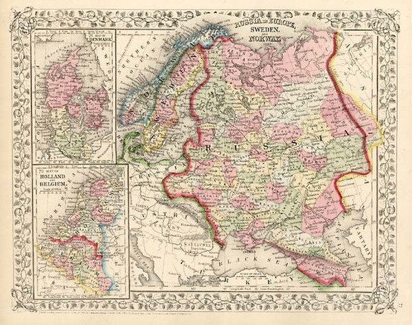 41-Europe, Russia and Scandinavia Map By Samuel Augustus Mitchell Jr.