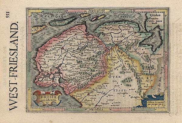 94-Europe, Netherlands and Germany Map By Henricus Hondius - Gerhard Mercator