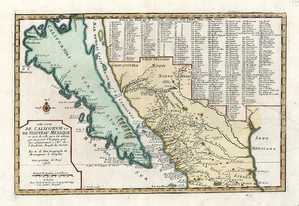 78-Southwest, Mexico, Baja California and California Map By Nicolas de Fer