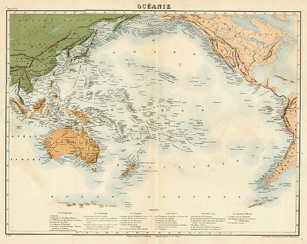 89-World and Pacific Map By Furne, Jouvet et Cie