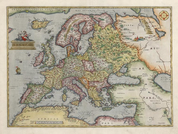 58-Europe and Europe Map By Abraham Ortelius
