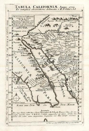 53-Southwest, Mexico, Baja California and California Map By Fr. Eusebio Kino