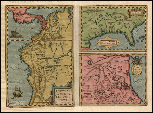 3-South, Southeast, Central America and South America Map By Abraham Ortelius