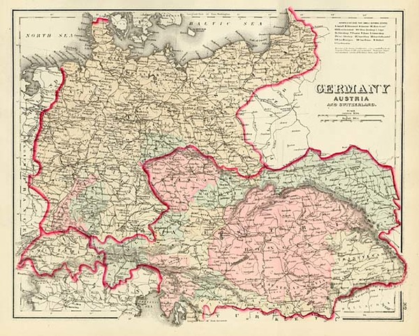 60-Europe, Switzerland, Germany and Austria Map By Frank A. Gray