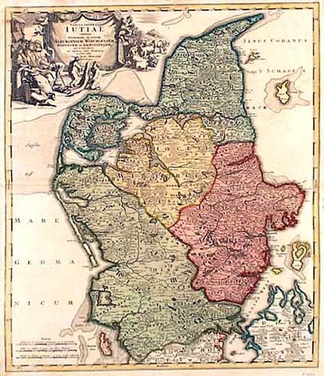 78-Europe, Germany and Scandinavia Map By Johann Baptist Homann