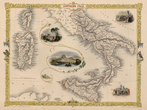 69-Europe, Italy, Mediterranean and Balearic Islands Map By John Tallis