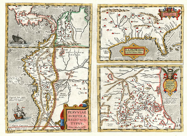 66-South, Southeast, Central America and South America Map By Abraham Ortelius