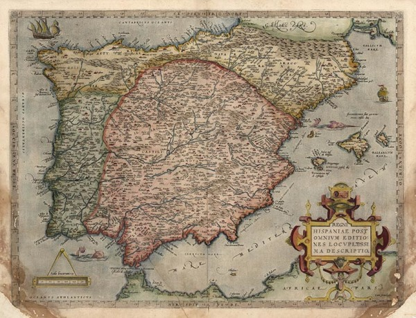 7-Europe, Spain and Portugal Map By Abraham Ortelius