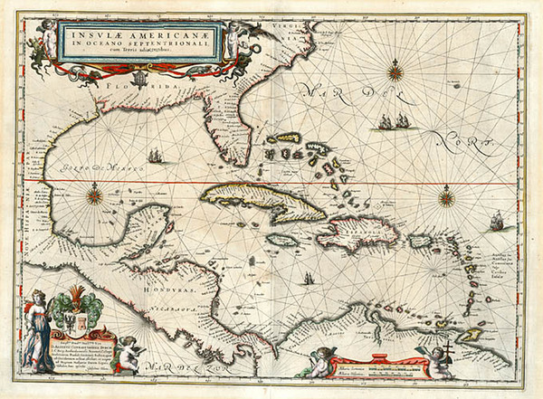 0-South, Southeast, Caribbean and Central America Map By Willem Janszoon Blaeu
