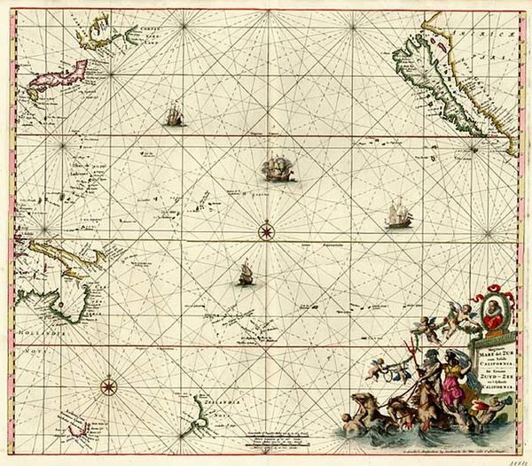 73-World, Australia & Oceania, Pacific, Australia, Oceania and New Zealand Map By Frederick De