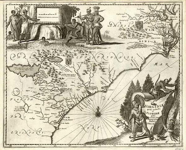 17-Mid-Atlantic and Southeast Map By John Ogilby / Arnoldus Montanus