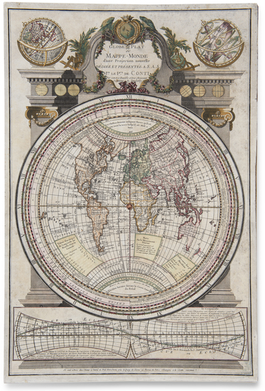 66-World and Globes & Instruments Map By A. Duplessis