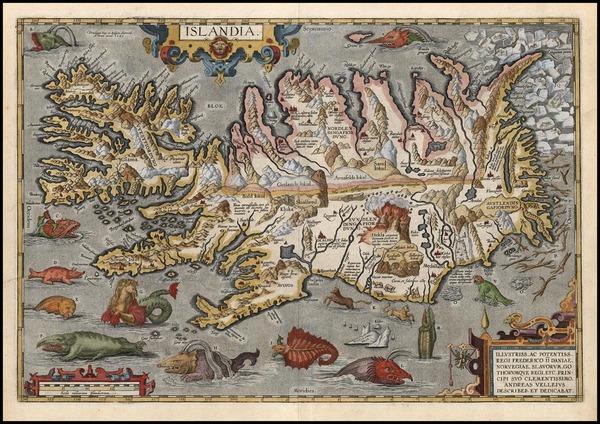 100-World, Atlantic Ocean, Europe, Iceland and Balearic Islands Map By Abraham Ortelius