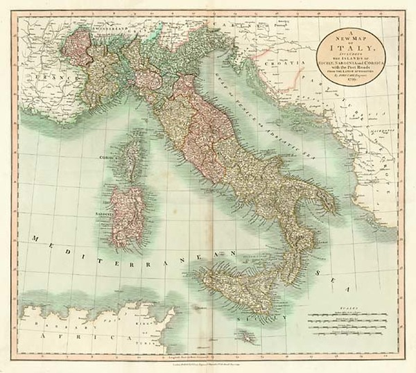 42-Europe, Italy and Balearic Islands Map By John Cary