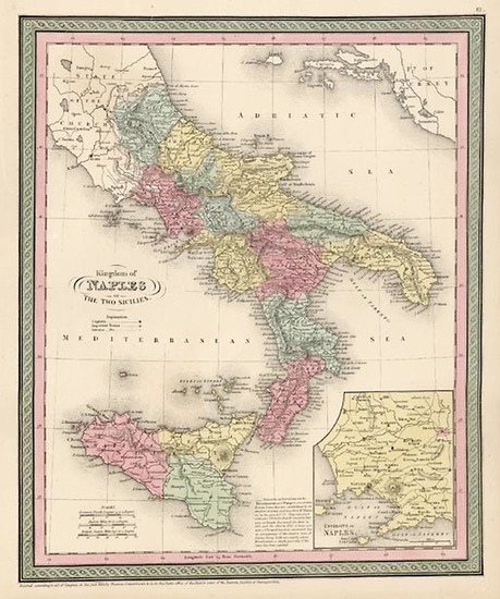 90-Europe, Italy, Mediterranean and Balearic Islands Map By Thomas, Cowperthwait & Co.