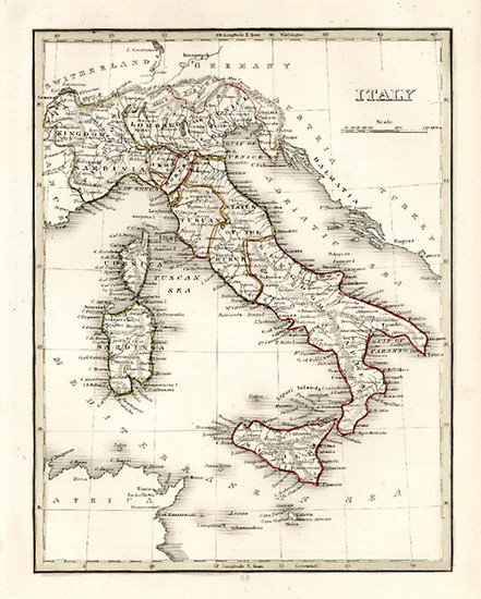 25-Europe and Italy Map By Thomas Gamaliel Bradford