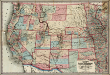 Plains, Southwest, Rocky Mountains and California Map By Joseph Hutchins Colton