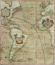 Atlantic Ocean, South America, Africa, Africa and America Map By Edmund Halley