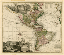 South America, California and America Map By Adam Friedrich Zurner