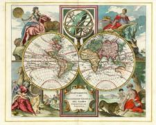 World and World Map By Giambattista Albrizzi