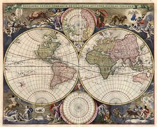 World, World and Polar Maps Map By Nicolaes Visscher I