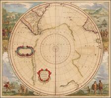 Polar Maps, Australia and New Zealand Map By Henricus Hondius
