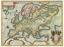 Europe, Europe, British Isles and Mediterranean Map By Abraham Ortelius