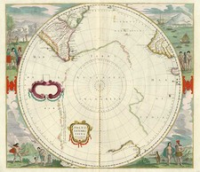 World, Polar Maps, Australia & Oceania, Pacific, Australia and New Zealand Map By Henricus Hondius