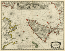 Italy and Balearic Islands Map By Jan Jansson / Willem Barentsz