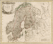 Scandinavia Map By Louis Joseph Mondhare / J. B. De La Fosse