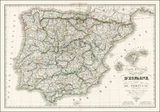 Spain and Portugal Map By Adrien-Hubert Brué