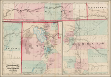 Southwest, Colorado, Utah, Rocky Mountains, Colorado, Utah and Wyoming Map By Asher  &  Adams