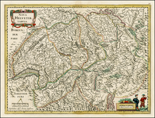 Switzerland Map By Jodocus Hondius / Jan Jansson