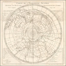 Polar Maps, Australia and Oceania Map By Jacques Nicolas Bellin