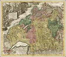 Switzerland Map By Matthaus Seutter