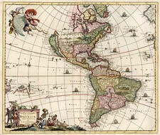 South America, Australia & Oceania, Australia, Oceania and America Map By Justus Danckerts