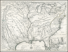 South, Southeast, Texas, Midwest, Plains, Southwest and Rocky Mountains Map By Guillaume De L'Isle
