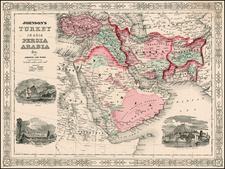 Asia, Middle East and Turkey & Asia Minor Map By Benjamin P Ward  &  Alvin Jewett Johnson
