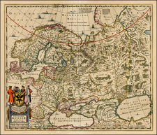 Russia, Ukraine, Scandinavia and Russia in Asia Map By Henricus Hondius