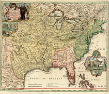 United States, South, Southeast and Midwest Map By Johann Baptist Homann