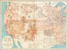 United States, Texas, Plains, Southwest, Rocky Mountains and California Map By George M. Wheeler