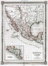 Texas, Southwest, Mexico and California Map By Thunot Duvotenay
