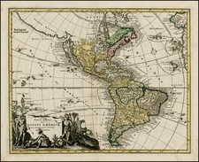 Western Hemisphere, South America and America Map By Johann Christoph Weigel