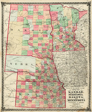 Midwest and Plains Map By H.H. Lloyd  &  Warner & Beers