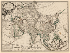 Asia and Asia Map By Guillaume De L'Isle