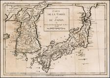 Japan and Korea Map By Louis Brion de la Tour