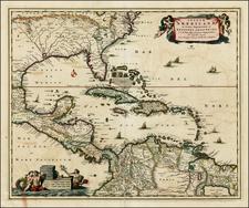 Insulae Americanae in Oceano Septentrionali ac Regiones Adiacentes, a C. de May usque ad Lineam Aequinoctialem . . . By Nicolaes Visscher I