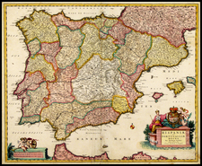 Spain and Portugal Map By Nicolaes Visscher I