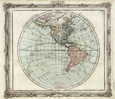 World, Western Hemisphere, South America and America Map By Louis Brion de la Tour