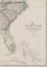 Southeast and Caribbean Map By Theodore Ettling  &  Day & Son